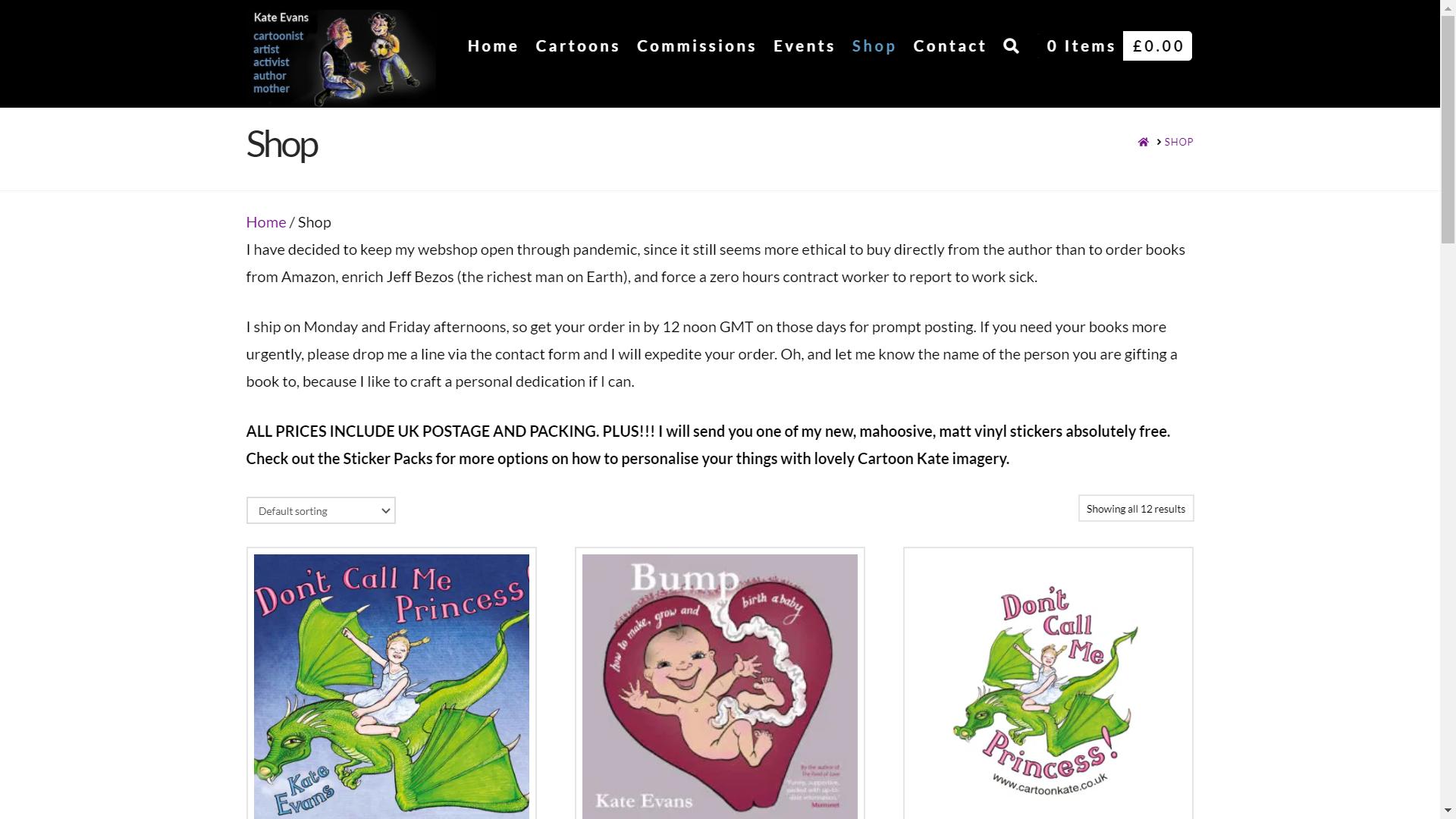Kate Evans shop page